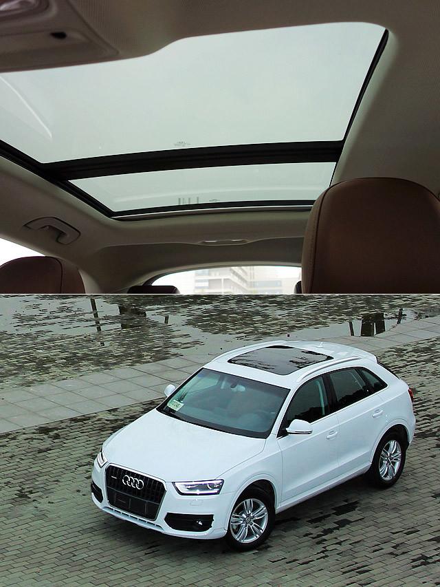 国产Q3全系标配的全景式玻璃天窗的确能有效减轻车内的压抑感。