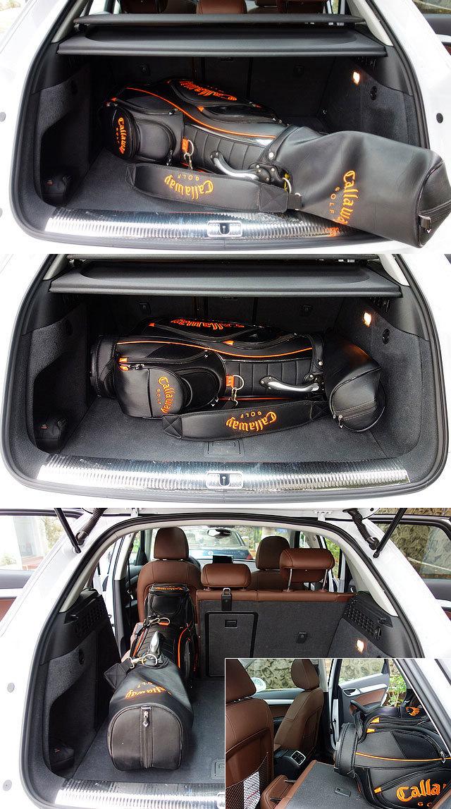 Q3的车尾行李厢空间在不放倒第二排座椅的情况下,很难妥善放置好一个标准高尔夫球包(图上,图中),只有放倒后排一部分座椅才能完全将其安置在内(图下左,图下右),但这样一来,却让整体搭载人数有所减少。