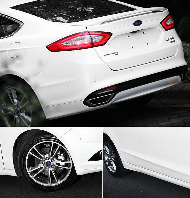 蒙迪欧的外观设计并不纷繁与刻意,以抢眼的车头为引子,车侧两条凸显的肩线与腰线伸延过渡,加上类似Fastback快背造型的车尾与18寸的轮圈,寥寥几笔便让其力度感与速度感在不经意间呈现,就算把车尾的小型尾翼去掉,也无损其蕴含的运动气息。