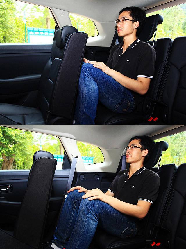 从图片中可以看到,当第二排座椅调整至最后和第二排座椅调整到最前时,身高177cm的同事在第三排的乘坐空间。