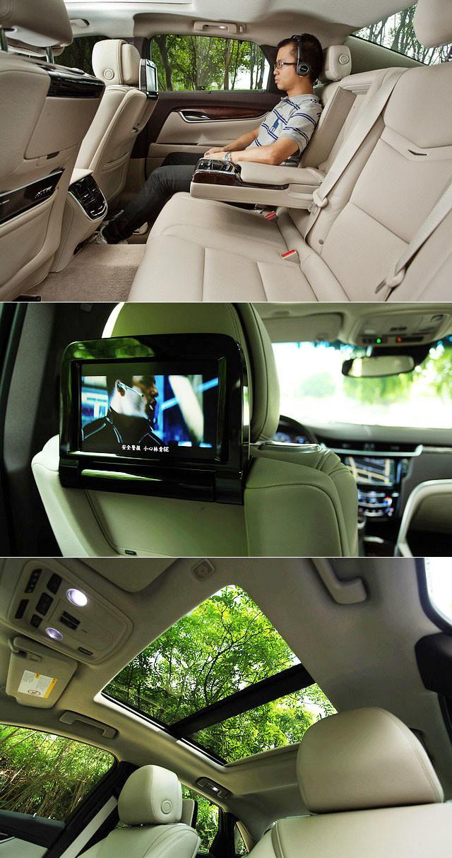 XTS实际的乘坐感也是如同操控一般轻松零压力,座椅坐垫略略偏软,整体承托性与包裹性都称得上舒适。虽然略高的腰线让后排两侧的视野稍显局促,但全景式天窗的加入则作出了弥补。在这台顶配车型上,两张前排座椅的后方还设置了折叠式的液晶显示屏,配合无线蓝牙耳机与无线遥控器,两位后排乘客可以在旅途中以蓝光影碟打发无聊的时光。