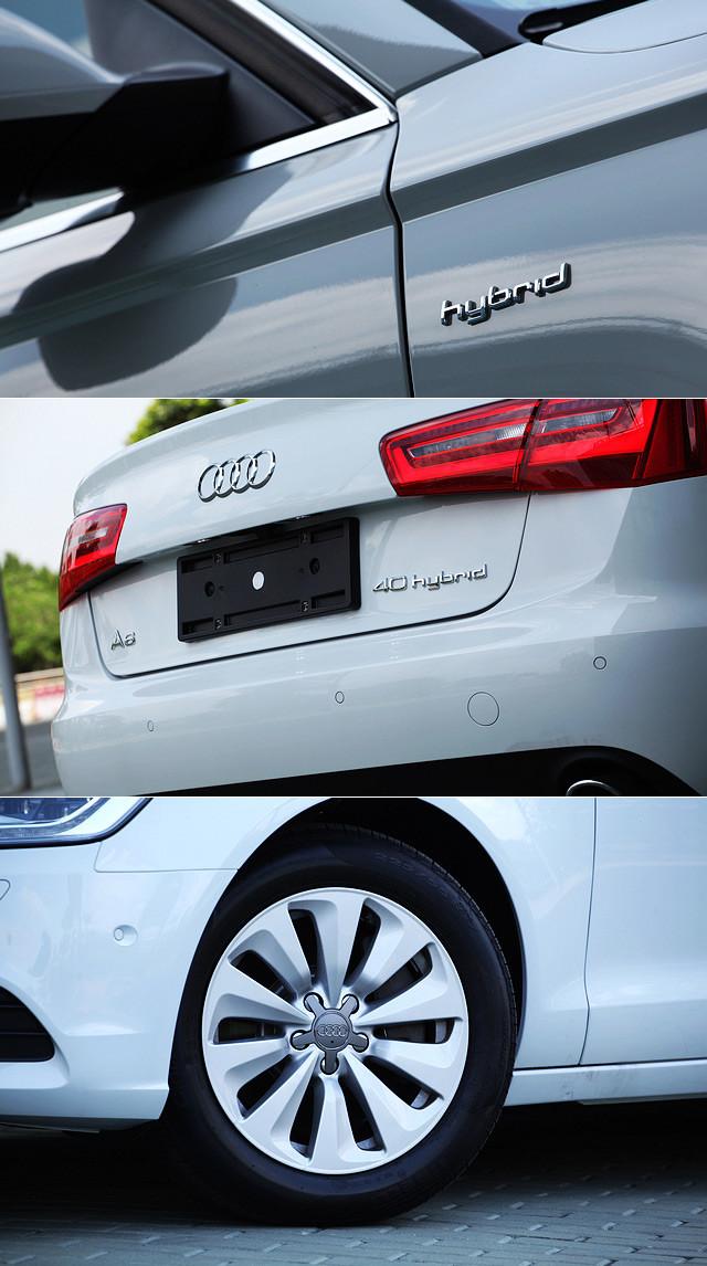 除了LED头灯,车尾部位的40 Hybrid徽章,前轮两侧翼子板上的Hybrid字样,以及款式特殊的17寸铝合金轮圈是在外观上分辨普通版本与Hybrid版本A6的几个要点。