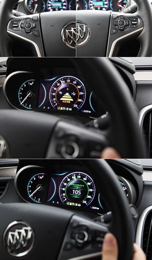 三幅式方向盘的左右盘辐都具有多个方向按键、快捷键和拨键,而自适应巡航系统主要通过左侧的按键组进行操作。驾驶者可以设置远中近三档车辆间隔,车速则可通过拨键控制,以5km/h为单位。