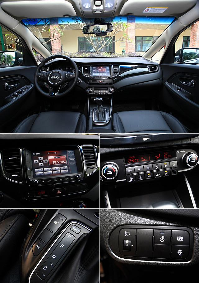 """新佳乐当中的顶配车型——7座豪华版配备相当丰富,8英寸触摸式显示屏反应迅速(左中),空调为双区自动式(右中),甚至连同级车型上少见的方向盘加热(右下)、前座加热(左下)以及可改变方向盘重量的""""柔性转向系统""""都有搭载。"""