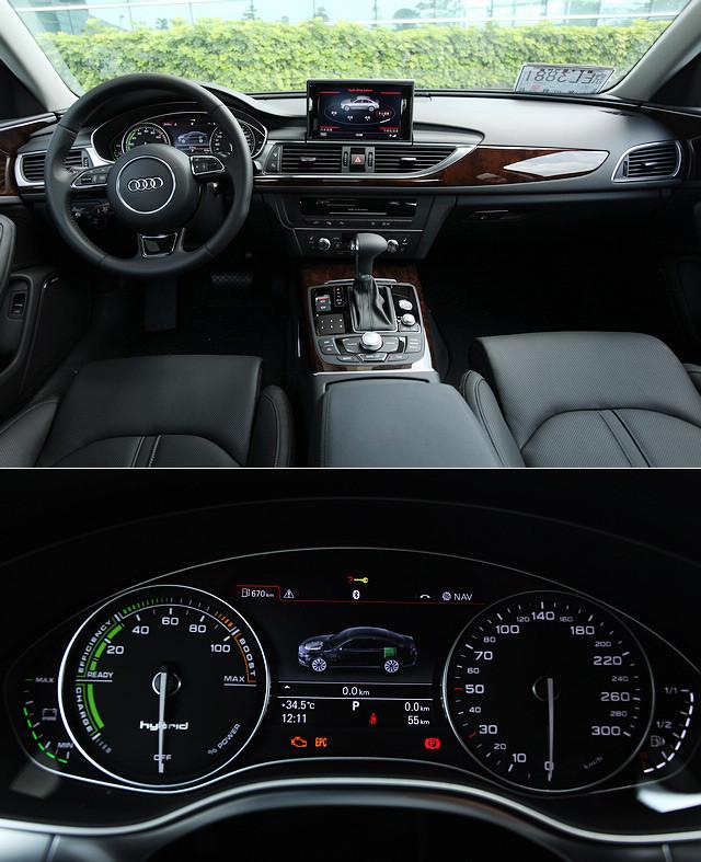 A6 Hybrid的内饰与普通版本并无大异,最明显的变化在仪表板,传统的转速表被动力表所取代,以百分比显示车辆动力的输出比例。