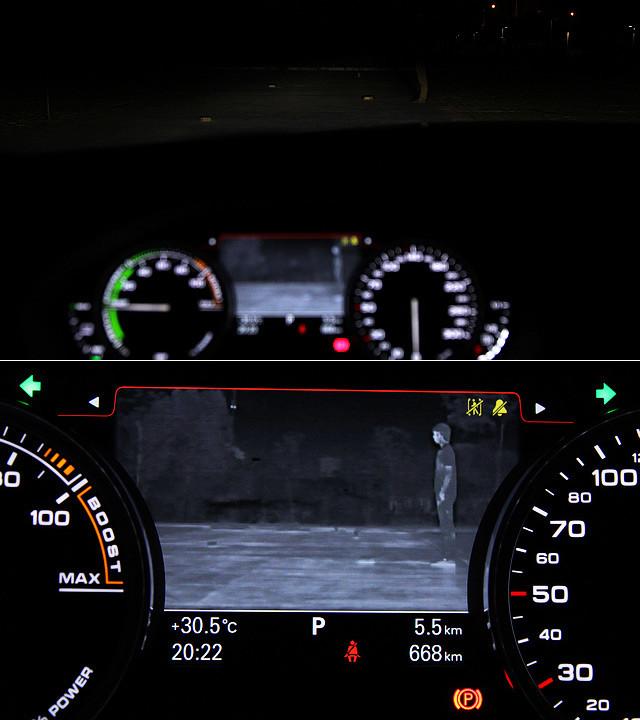 仪表板的中央显示区域,除了可以显示混合动力系统的运转情况、导航、蓝牙等惯常信息之外,同时还是A6 Hybrid所配备的红外夜视系统的显示区域。监测软件会特别注意形同人类轮廓的物体,以及明亮的圆形物体——也就是人的头部。系统将被监测到的行人用黄色标记突出显示于仪表盘中央的显示屏上。