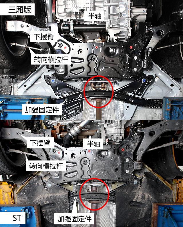 在钢板护板的背后,ST的排气管头段采用4-1的布局形式(图中红圈),而普通版本则是4-2-1布局(图中红圈),前者这样做主要是其注重高转时动力设计,而普通版则是低转低扭的需要设定。