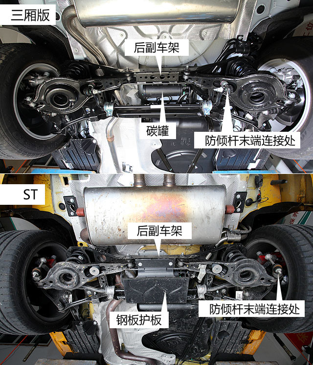 ST在后副车架中间加装了一块长方形的钢性护板,其最主要作用则是保护吸附燃油挥发气体的碳罐。此外,ST的防倾杆则是采用杆臂加长的方式将其两端固定在下摆臂末端处,从而提高防倾杆的整体硬性,进一步保证行驶稳定性。